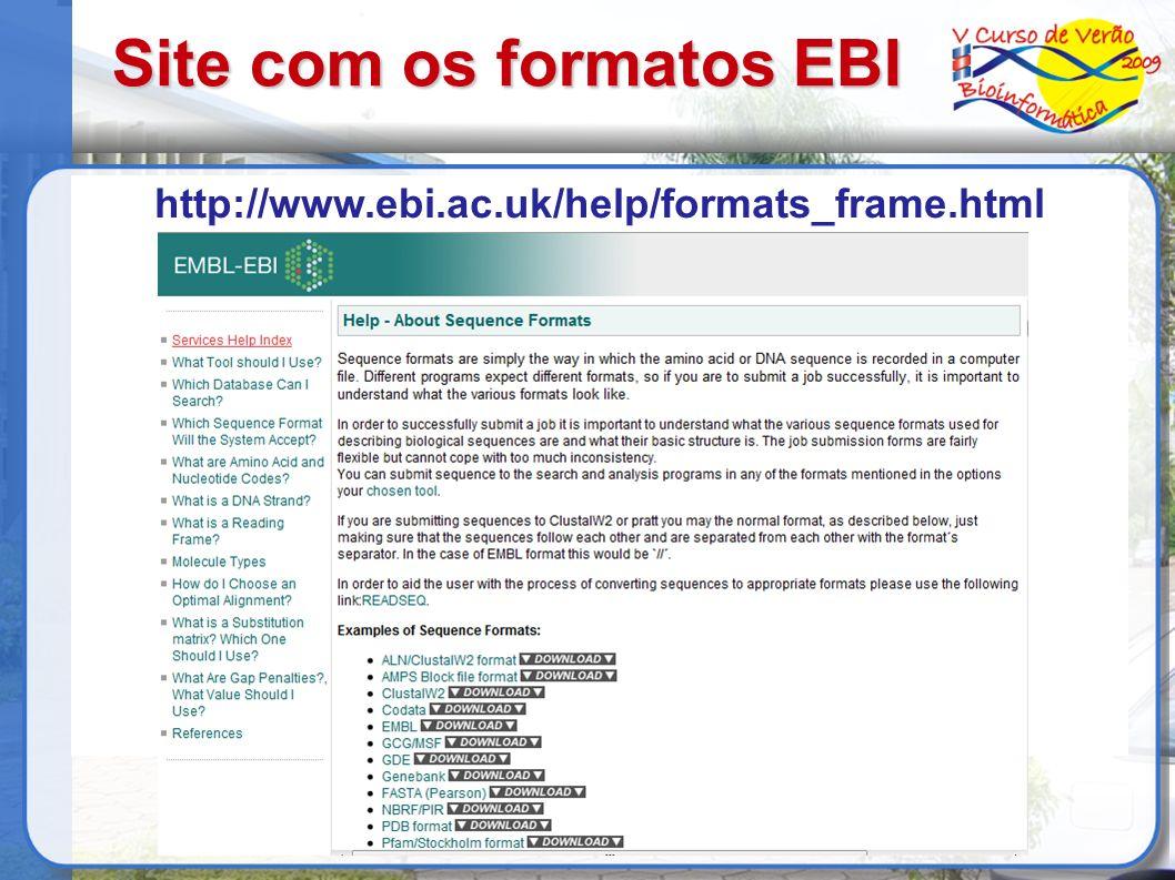 Site com os formatos EBI http://www.ebi.ac.uk/help/formats_frame.html