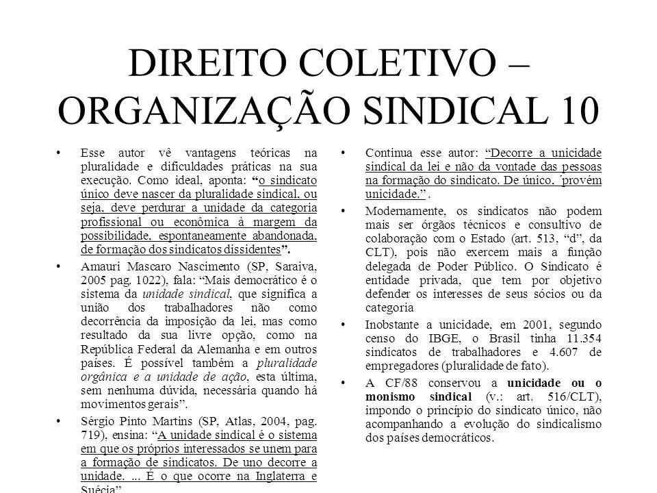 DIREITO COLETIVO – ORGANIZAÇÃO SINDICAL 10 Esse autor vê vantagens teóricas na pluralidade e dificuldades práticas na sua execução. Como ideal, aponta