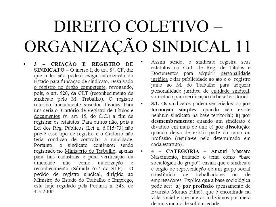 DIREITO COLETIVO – ORGANIZAÇÃO SINDICAL 11 3 – CRIAÇÃO E REGISTRO DE SINDICATO – O inciso I, do art. 8°, CF, diz que a lei não poderá exigir autorizaç