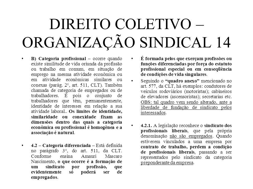DIREITO COLETIVO – ORGANIZAÇÃO SINDICAL 14 B) Categoria profissional – ocorre quando existe similitude de vida oriunda da profissão ou trabalho em com