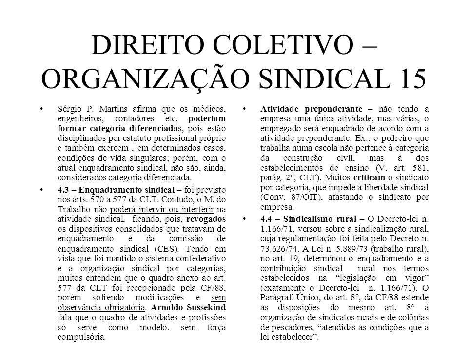 DIREITO COLETIVO – ORGANIZAÇÃO SINDICAL 15 Sérgio P. Martins afirma que os médicos, engenheiros, contadores etc. poderiam formar categoria diferenciad