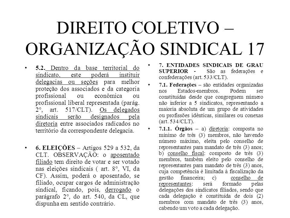 DIREITO COLETIVO – ORGANIZAÇÃO SINDICAL 17 5.2. Dentro da base territorial do sindicato, este poderá instituir delegacias ou seções para melhor proteç