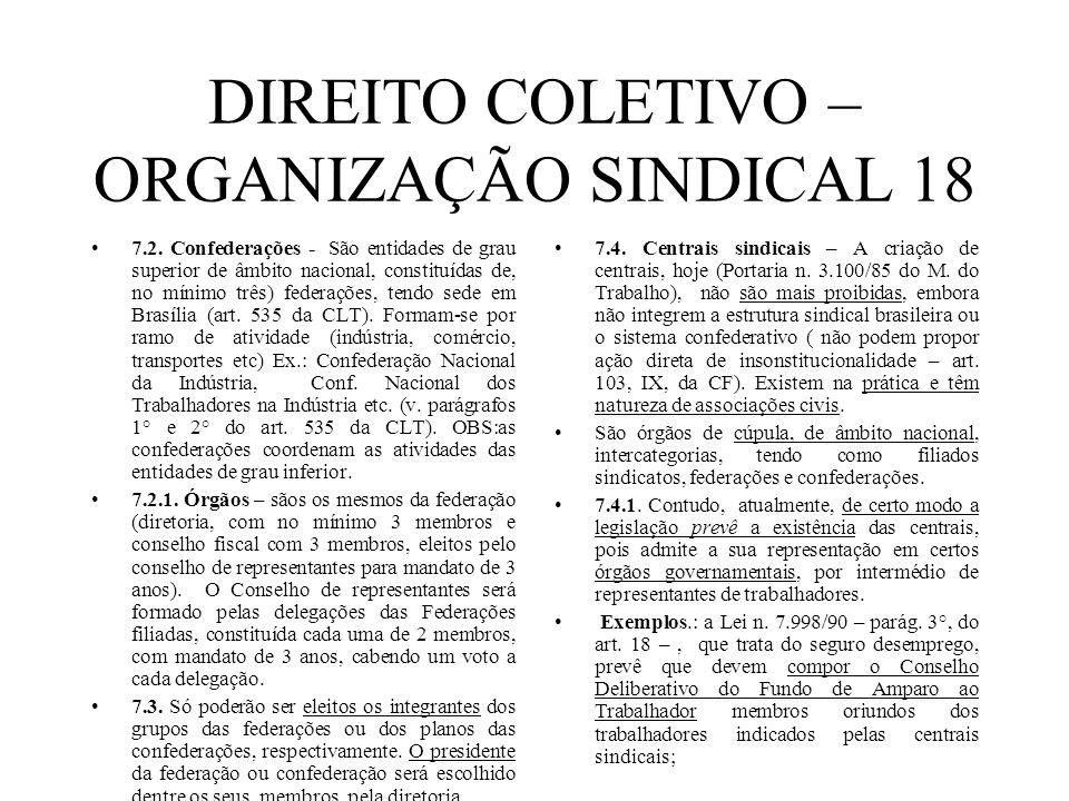 DIREITO COLETIVO – ORGANIZAÇÃO SINDICAL 18 7.2. Confederações - São entidades de grau superior de âmbito nacional, constituídas de, no mínimo três) fe