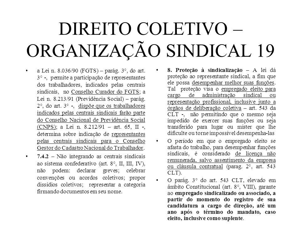 DIREITO COLETIVO – ORGANIZAÇÃO SINDICAL 19 a Lei n. 8.036/90 (FGTS) – parág. 3°, do art. 3° -, permite a participação de representantes dos trabalhado