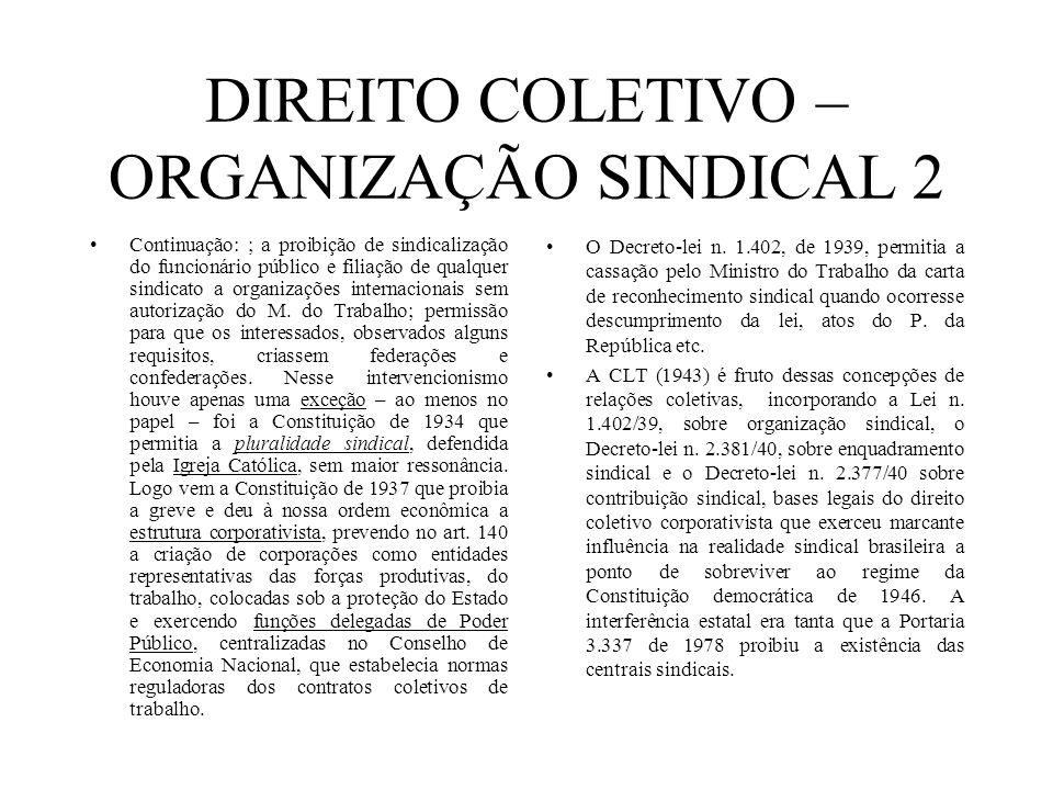DIREITO COLETIVO – ORGANIZAÇÃO SINDICAL 2 Continuação: ; a proibição de sindicalização do funcionário público e filiação de qualquer sindicato a organ