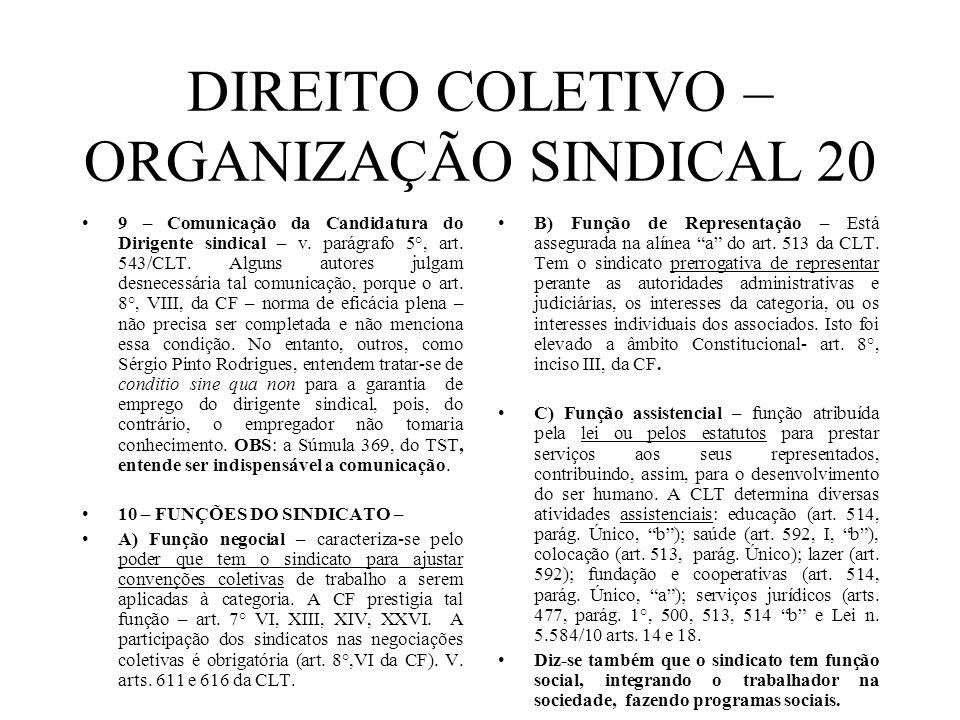 DIREITO COLETIVO – ORGANIZAÇÃO SINDICAL 20 9 – Comunicação da Candidatura do Dirigente sindical – v. parágrafo 5°, art. 543/CLT. Alguns autores julgam