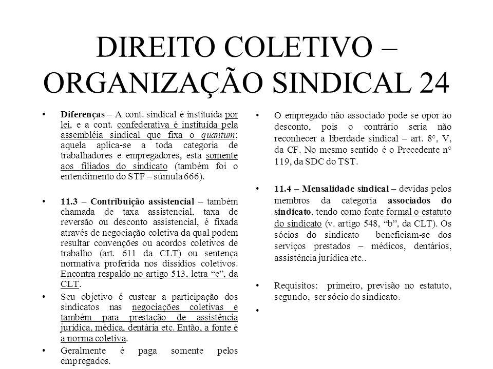 DIREITO COLETIVO – ORGANIZAÇÃO SINDICAL 24 Diferenças – A cont. sindical é instituída por lei, e a cont. confederativa é instituída pela assembléia si
