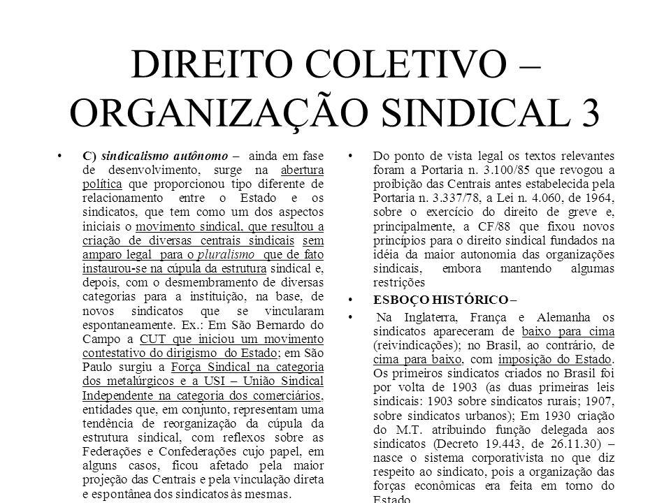 DIREITO COLETIVO – ORGANIZAÇÃO SINDICAL 3 C) sindicalismo autônomo – ainda em fase de desenvolvimento, surge na abertura política que proporcionou tip