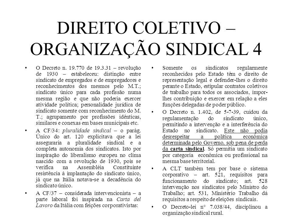 DIREITO COLETIVO – ORGANIZAÇÃO SINDICAL 4 O Decreto n. 19.770 de 19.3.31 – revolução de 1930 – estabeleceu: distinção entre sindicato de empregados e