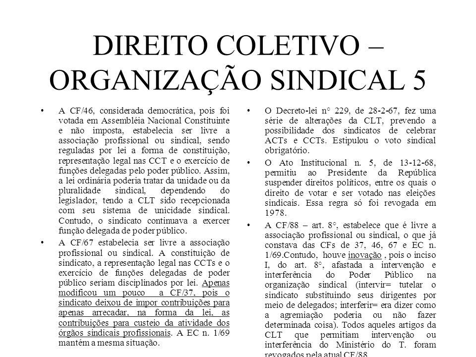 DIREITO COLETIVO – ORGANIZAÇÃO SINDICAL 5 A CF/46, considerada democrática, pois foi votada em Assembléia Nacional Constituinte e não imposta, estabel