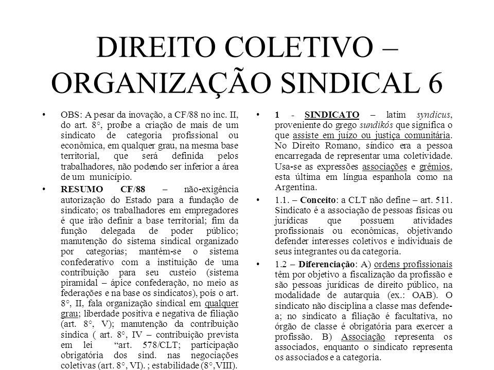 DIREITO COLETIVO – ORGANIZAÇÃO SINDICAL 6 OBS: A pesar da inovação, a CF/88 no inc. II, do art. 8°, proíbe a criação de mais de um sindicato de catego