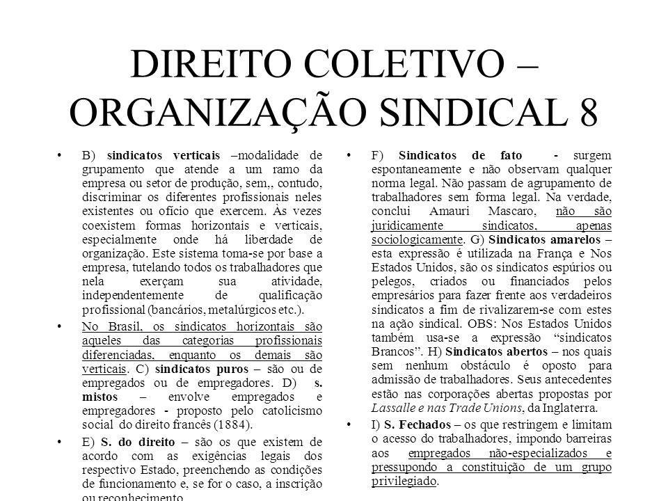 DIREITO COLETIVO – ORGANIZAÇÃO SINDICAL 8 B) sindicatos verticais –modalidade de grupamento que atende a um ramo da empresa ou setor de produção, sem,