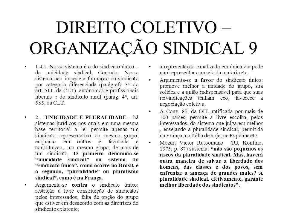 DIREITO COLETIVO – ORGANIZAÇÃO SINDICAL 9 1.4.1. Nosso sistema é o do sindicato único – da unicidade sindical. Contudo. Nosso sistema não impede a for