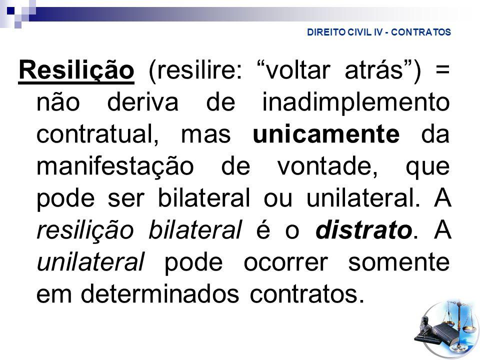 DIREITO CIVIL IV - CONTRATOS Resilição (resilire: voltar atrás) = não deriva de inadimplemento contratual, mas unicamente da manifestação de vontade,