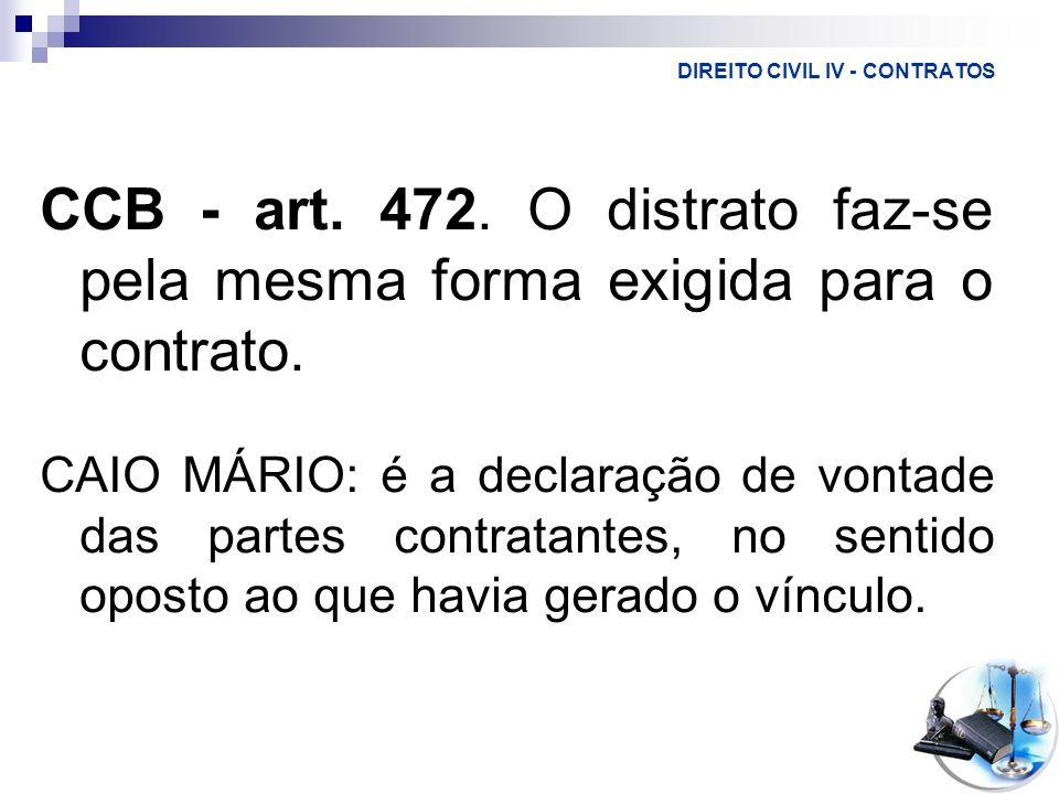 DIREITO CIVIL IV - CONTRATOS CCB - art. 472. O distrato faz-se pela mesma forma exigida para o contrato. CAIO MÁRIO: é a declaração de vontade das par