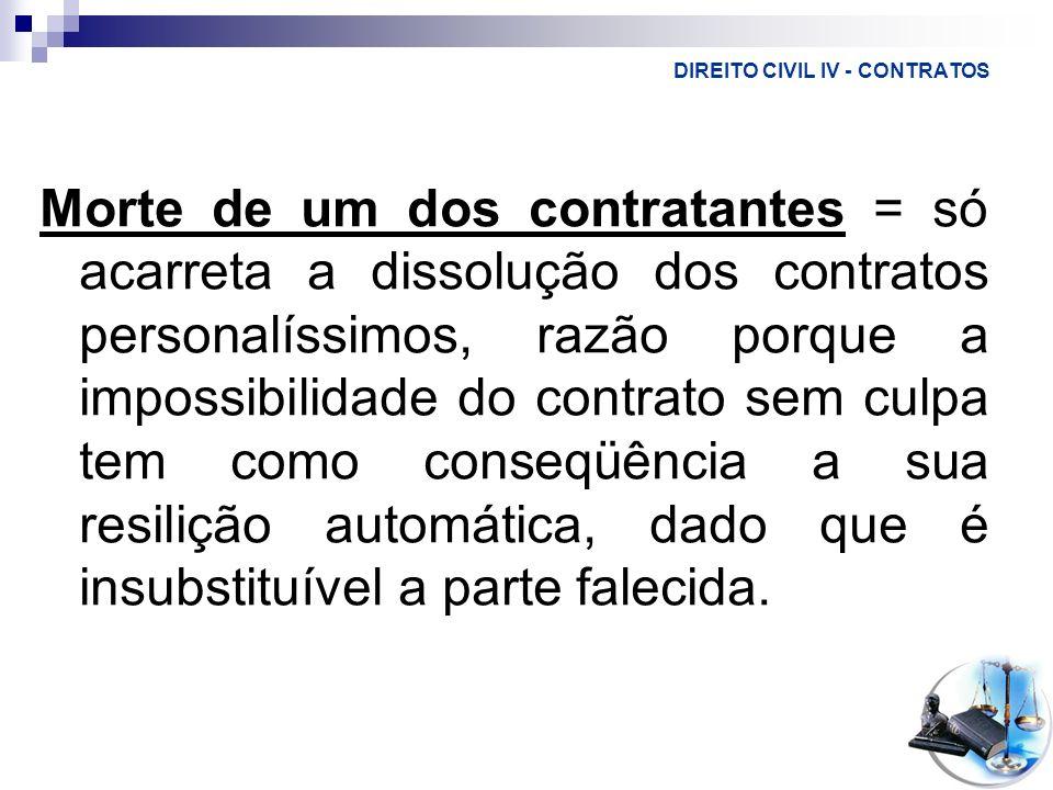 DIREITO CIVIL IV - CONTRATOS Morte de um dos contratantes = só acarreta a dissolução dos contratos personalíssimos, razão porque a impossibilidade do