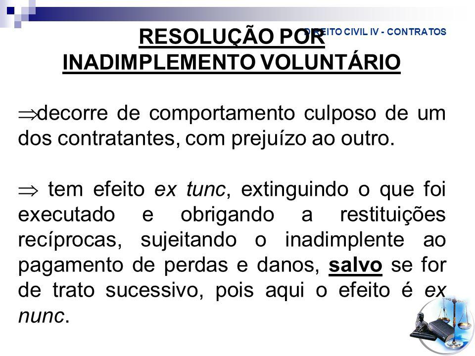 DIREITO CIVIL IV - CONTRATOS RESOLUÇÃO POR INADIMPLEMENTO VOLUNTÁRIO decorre de comportamento culposo de um dos contratantes, com prejuízo ao outro. t