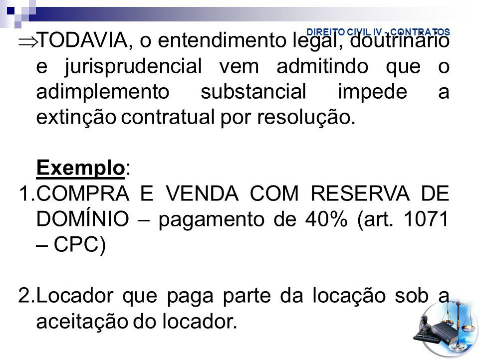 DIREITO CIVIL IV - CONTRATOS No direito brasileiro, há dois requisitos para a aplicação dessa resolução: fato EXCESSIVAMENTE ONEROSO, EXTRAORDINÁRIO E IMPREVISÍVEL (teoria da imprevisão)