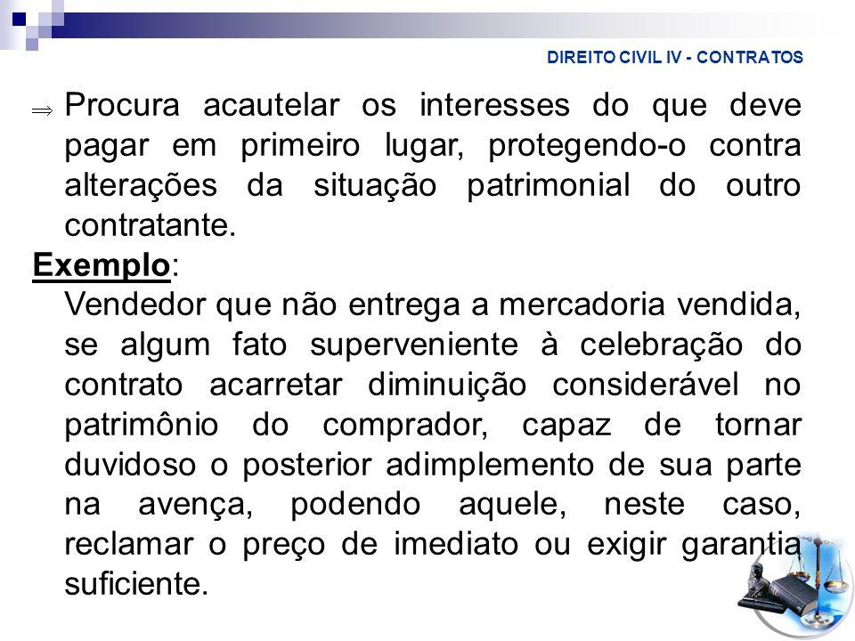 DIREITO CIVIL IV - CONTRATOS Procura acautelar os interesses do que deve pagar em primeiro lugar, protegendo-o contra alterações da situação patrimoni