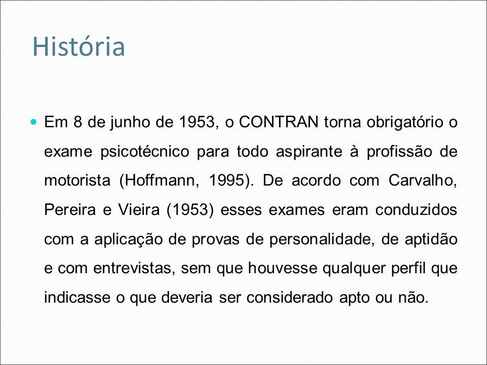 Em 8 de junho de 1953, o CONTRAN torna obrigatório o exame psicotécnico para todo aspirante à profissão de motorista (Hoffmann, 1995). De acordo com C