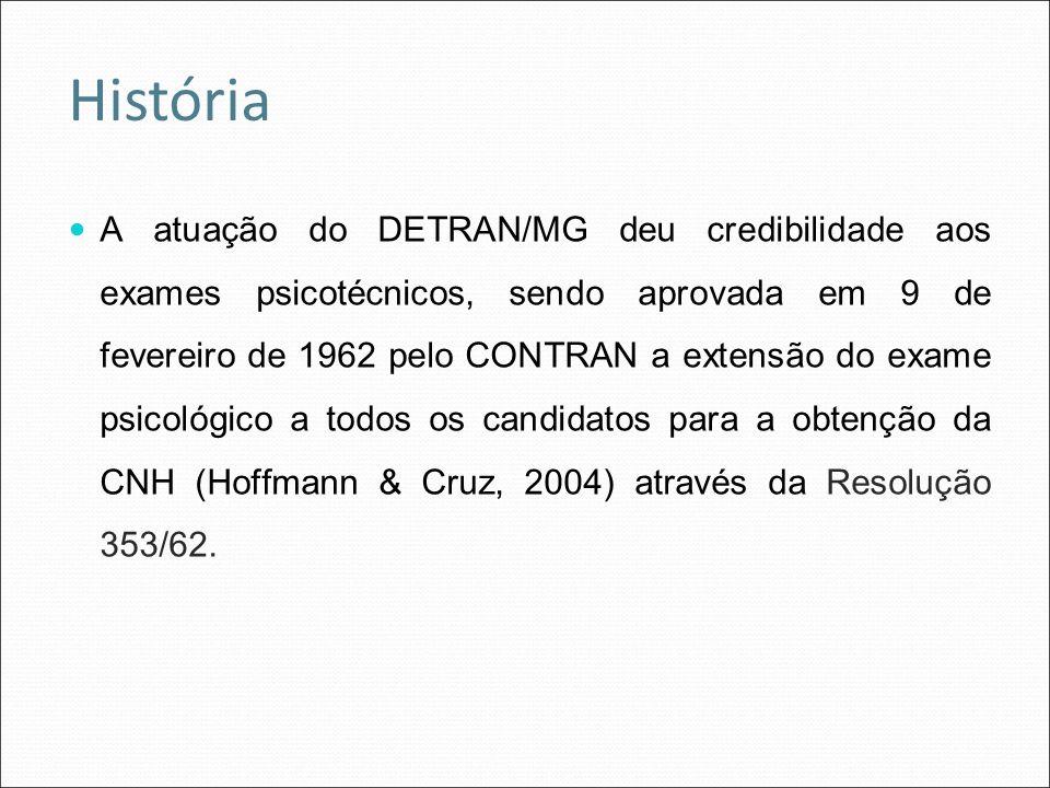 A atuação do DETRAN/MG deu credibilidade aos exames psicotécnicos, sendo aprovada em 9 de fevereiro de 1962 pelo CONTRAN a extensão do exame psicológi