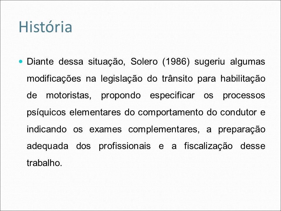 Diante dessa situação, Solero (1986) sugeriu algumas modificações na legislação do trânsito para habilitação de motoristas, propondo especificar os pr