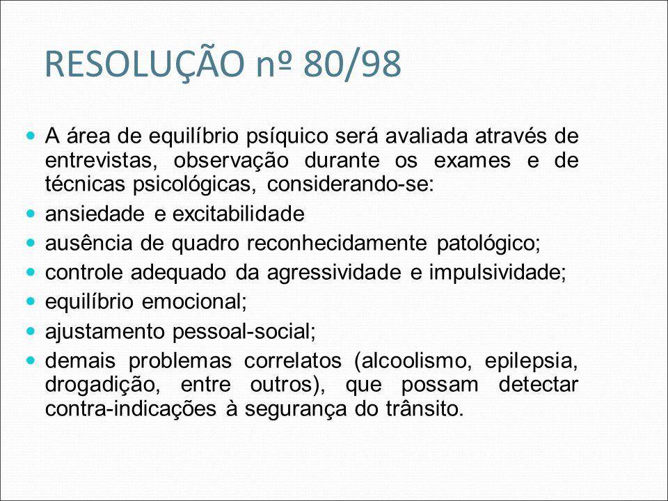 RESOLUÇÃO nº 80/98 A área de equilíbrio psíquico será avaliada através de entrevistas, observação durante os exames e de técnicas psicológicas, consid