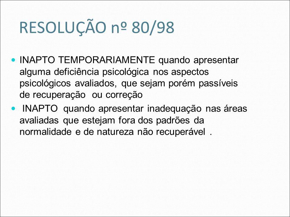 RESOLUÇÃO nº 80/98 INAPTO TEMPORARIAMENTE quando apresentar alguma deficiência psicológica nos aspectos psicológicos avaliados, que sejam porém passív