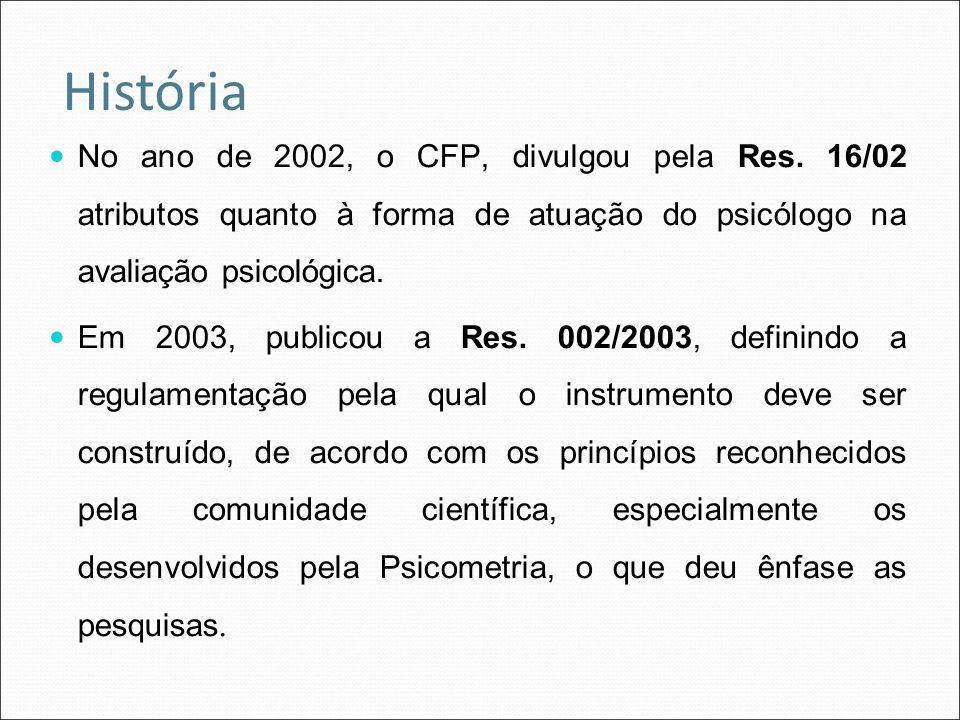 No ano de 2002, o CFP, divulgou pela Res. 16/02 atributos quanto à forma de atuação do psicólogo na avaliação psicológica. Em 2003, publicou a Res. 00