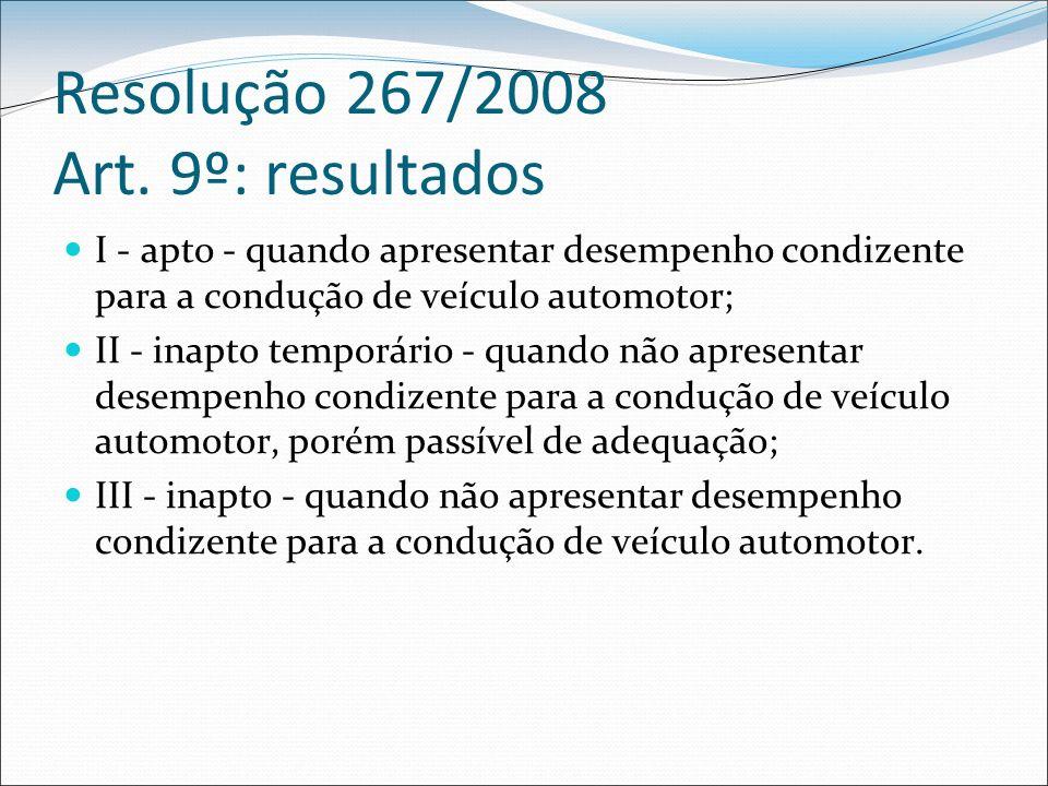Resolução 267/2008 Art. 9º: resultados I - apto - quando apresentar desempenho condizente para a condução de veículo automotor; II - inapto temporário