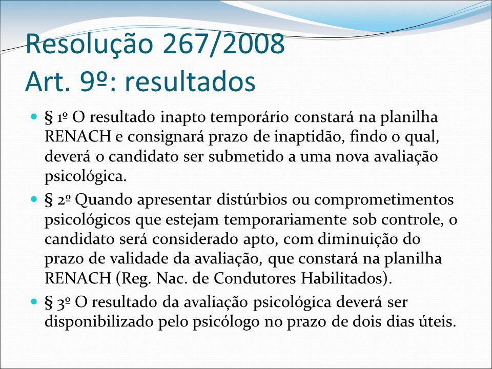 Resolução 267/2008 Art. 9º: resultados § 1º O resultado inapto temporário constará na planilha RENACH e consignará prazo de inaptidão, findo o qual, d