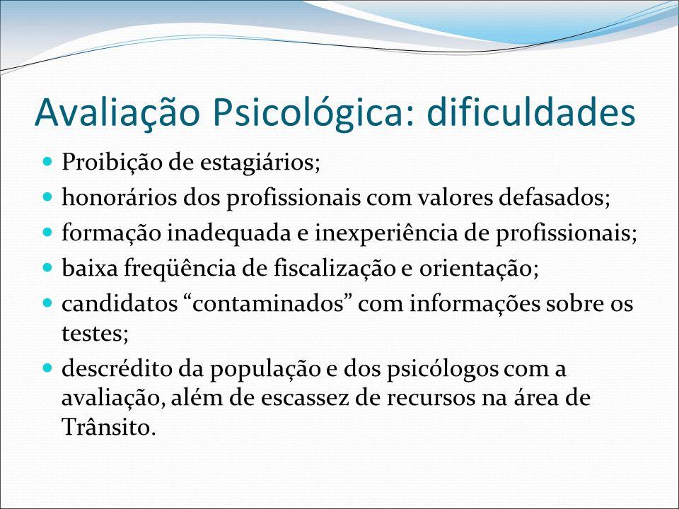 Avaliação Psicológica: dificuldades Proibição de estagiários; honorários dos profissionais com valores defasados; formação inadequada e inexperiência