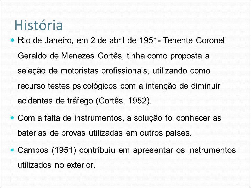 História R io de Janeiro, em 2 de abril de 1951- Tenente Coronel Geraldo de Menezes Cortês, tinha como proposta a seleção de motoristas profissionais,