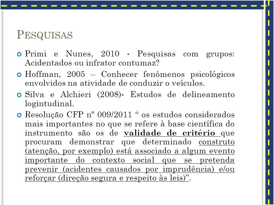 P ESQUISAS Primi e Nunes, 2010 - Pesquisas com grupos: Acidentados ou infrator contumaz? Hoffman, 2005 – Conhecer fenômenos psicológicos envolvidos na
