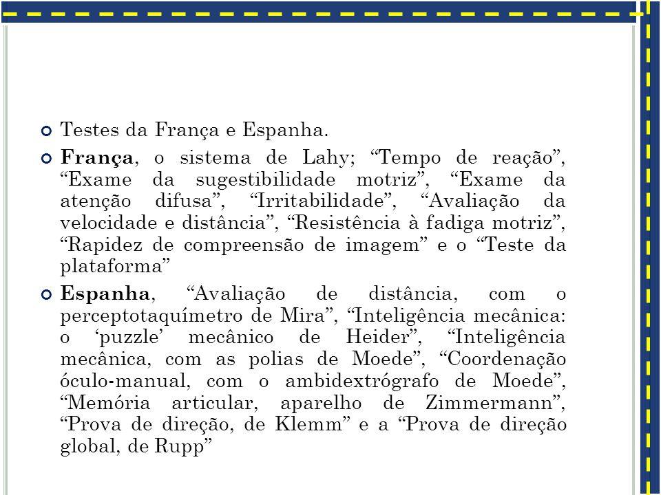 Testes da França e Espanha. França, o sistema de Lahy; Tempo de reação, Exame da sugestibilidade motriz, Exame da atenção difusa, Irritabilidade, Aval