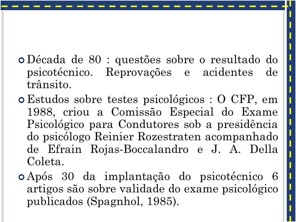 Década de 80 : questões sobre o resultado do psicotécnico. Reprovações e acidentes de trânsito. Estudos sobre testes psicológicos : O CFP, em 1988, cr