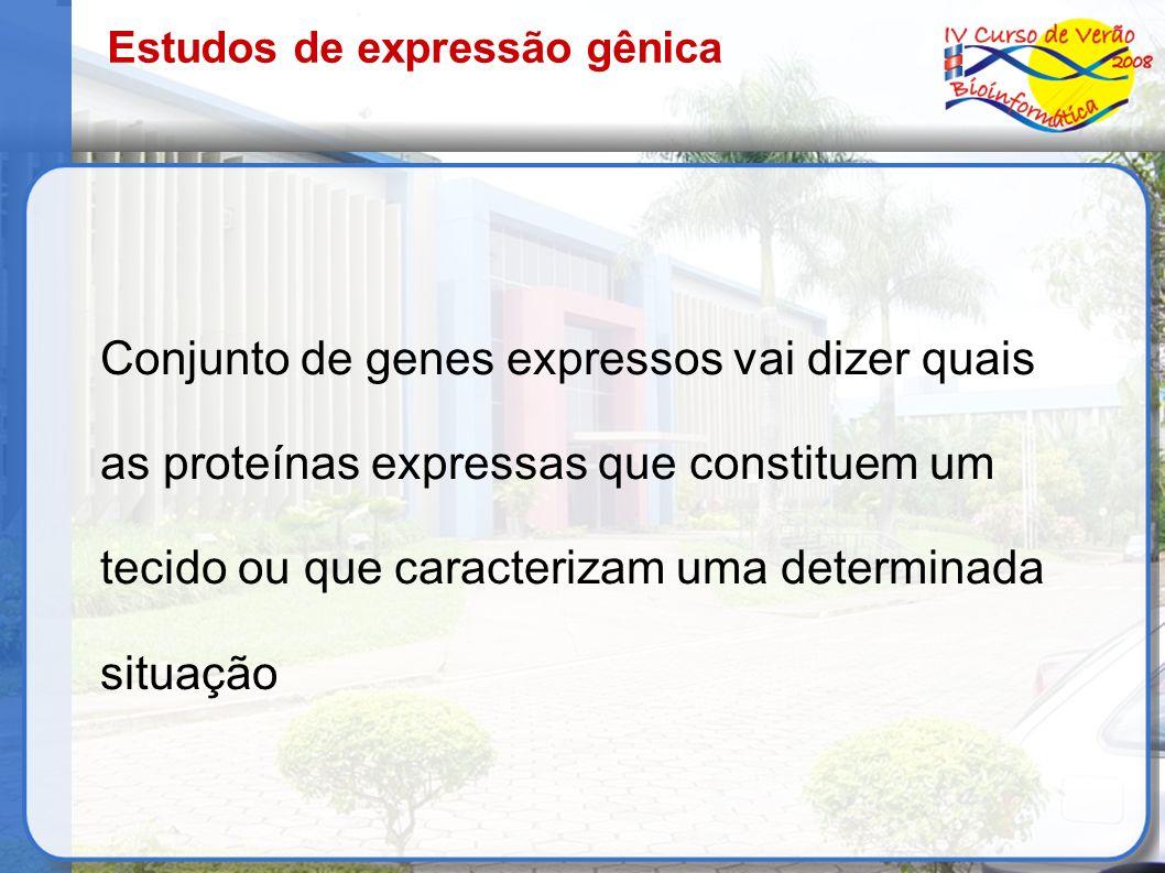 Estudos de expressão gênica Conjunto de genes expressos vai dizer quais as proteínas expressas que constituem um tecido ou que caracterizam uma determ