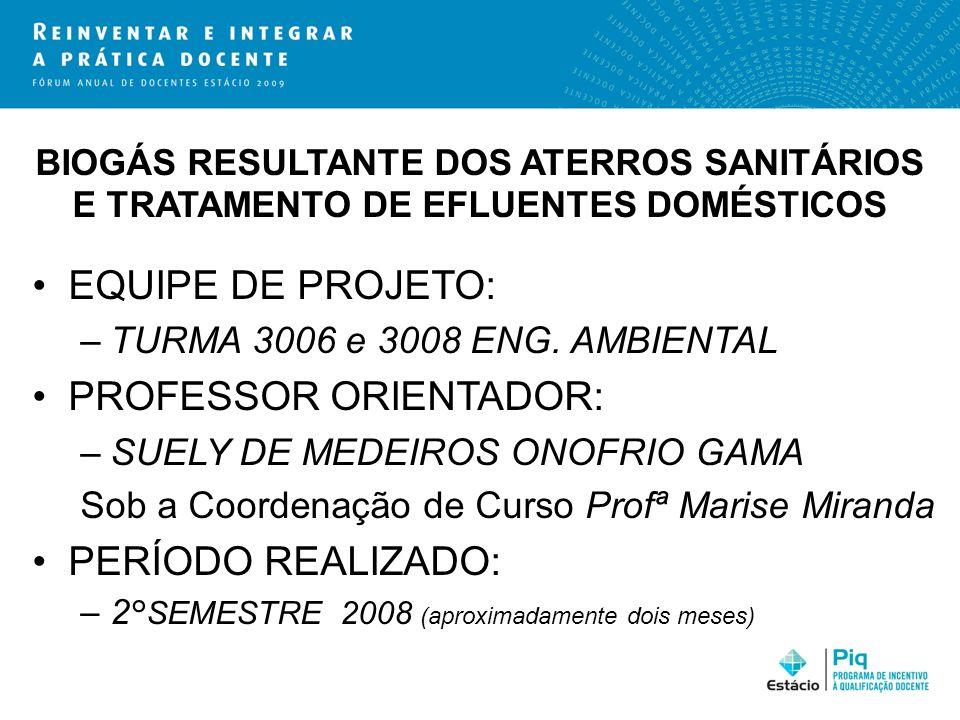 BIOGÁS RESULTANTE DOS ATERROS SANITÁRIOS E TRATAMENTO DE EFLUENTES DOMÉSTICOS EQUIPE DE PROJETO: –TURMA 3006 e 3008 ENG. AMBIENTAL PROFESSOR ORIENTADO