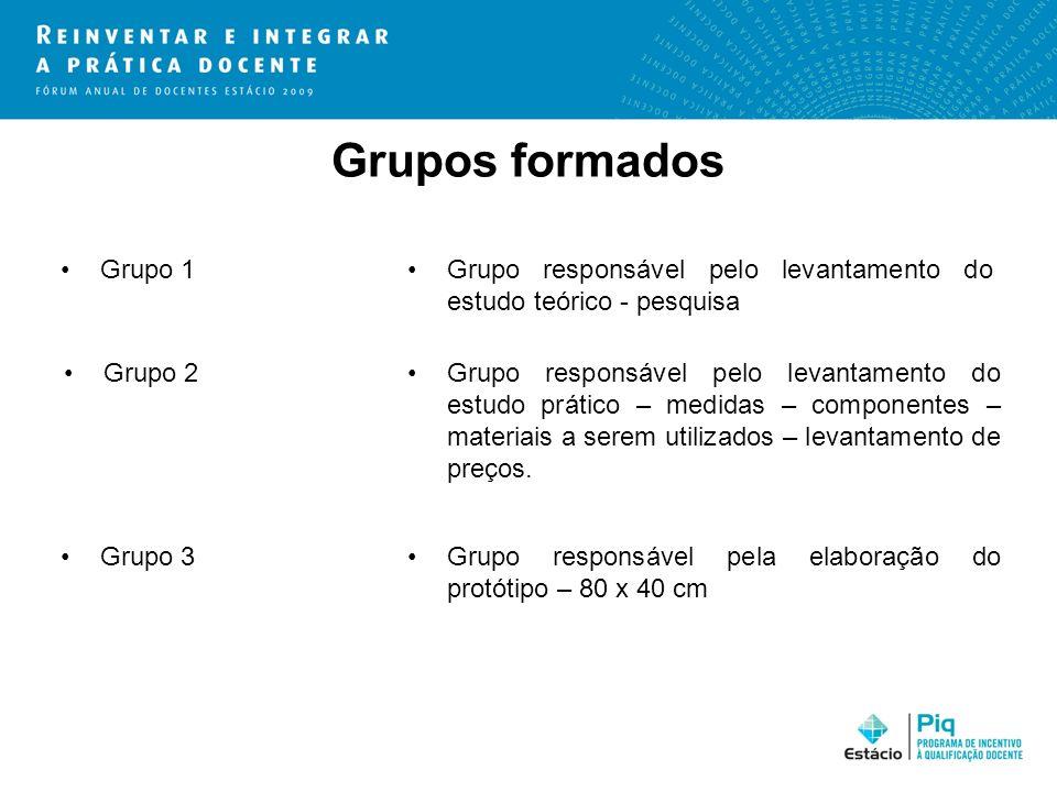 Grupos formados Grupo 1Grupo responsável pelo levantamento do estudo teórico - pesquisa Grupo 2Grupo responsável pelo levantamento do estudo prático –
