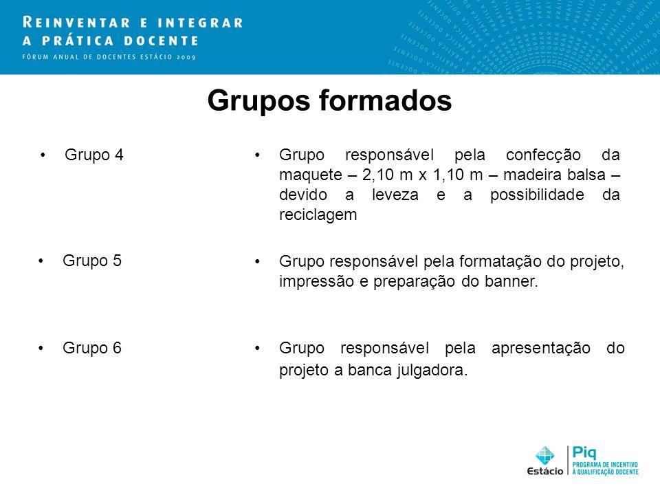 Grupos formados Grupo 4Grupo responsável pela confecção da maquete – 2,10 m x 1,10 m – madeira balsa – devido a leveza e a possibilidade da reciclagem