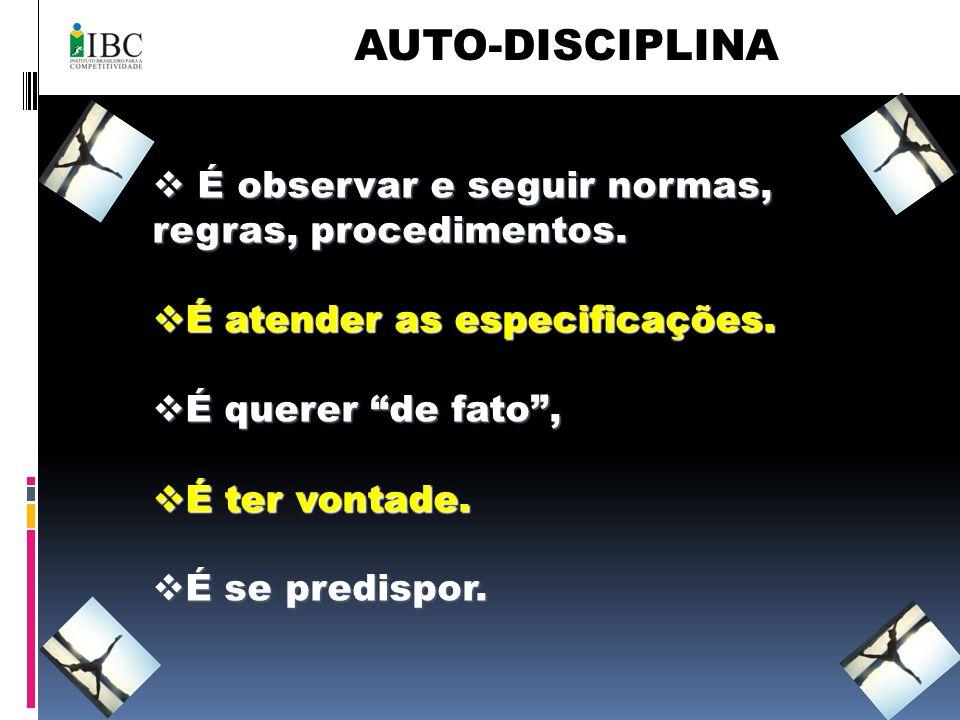 AUTO-DISCIPLINA É observar e seguir normas, regras, procedimentos. É observar e seguir normas, regras, procedimentos. É atender as especificações. É a