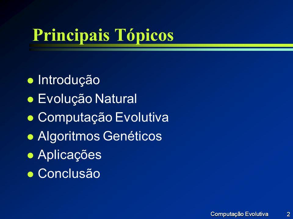 Computação Evolutiva 13 Princípios básicos l Indivíduo l Codificação l Função de aptidão l Reprodução