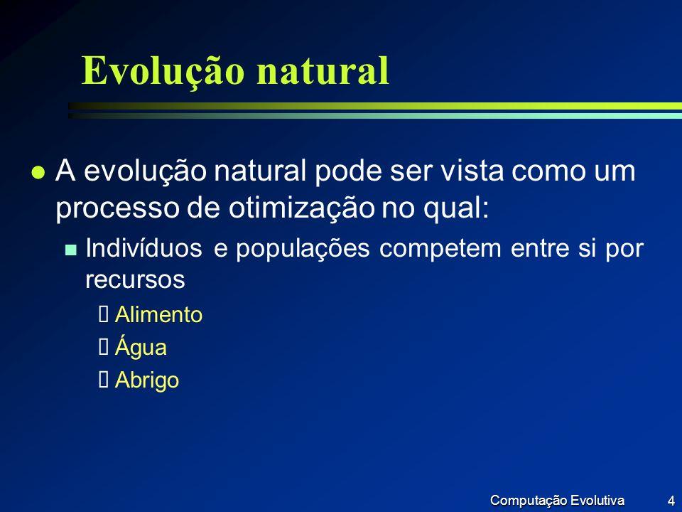Computação Evolutiva 5 Evolução natural l (continuação) n Indivíduos mais bem sucedidos na sobrevivência e atração de um parceiro terão, relativamente, mais descendentes (espalham seus genes) n Indivíduos mal sucedidos geram poucos ou nenhum descendente