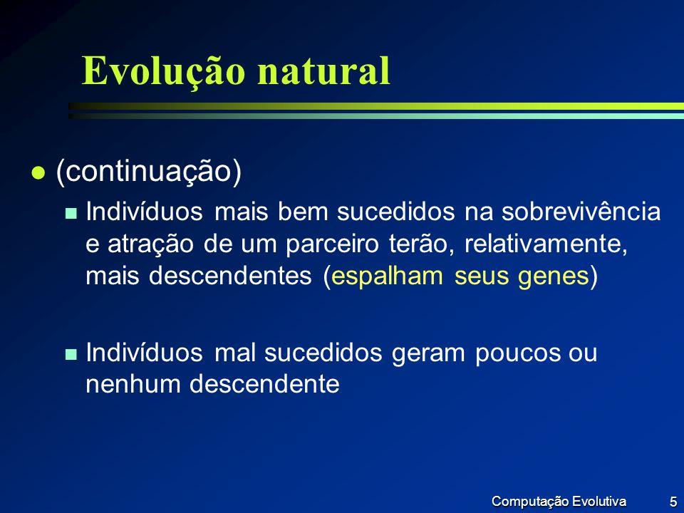 Computação Evolutiva 56 A BC D E G F S1 Pai1 C D E G S2 Pai2 A B F C D E G F S2 Filho A B F A B F Podar Exemplo3: Árvore Filogenética