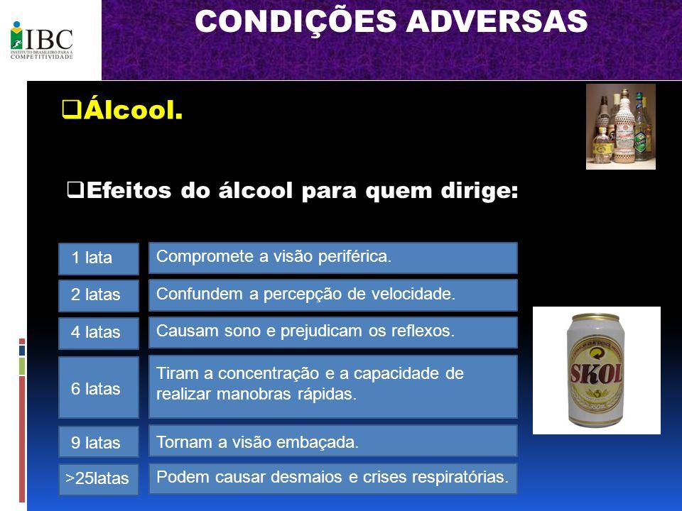 CONDIÇÕES ADVERSAS Álcool. Efeitos do álcool para quem dirige: 1 lata Compromete a visão periférica. 2 latas Confundem a percepção de velocidade. 4 la