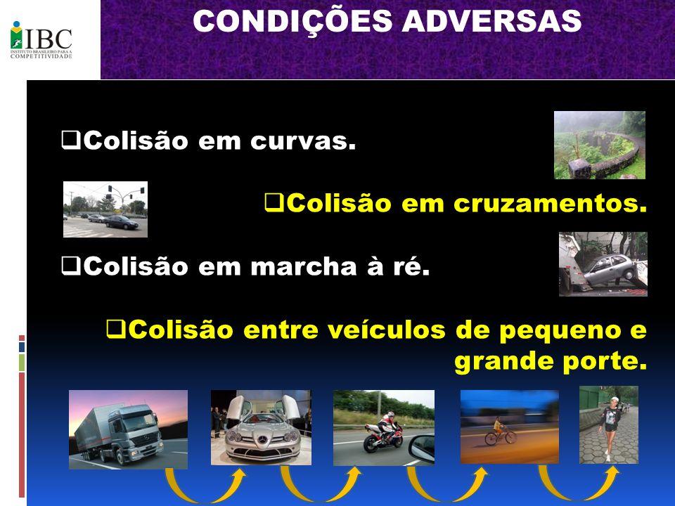 CONDIÇÕES ADVERSAS Colisão em curvas. Colisão em cruzamentos. Colisão em marcha à ré. Colisão entre veículos de pequeno e grande porte.