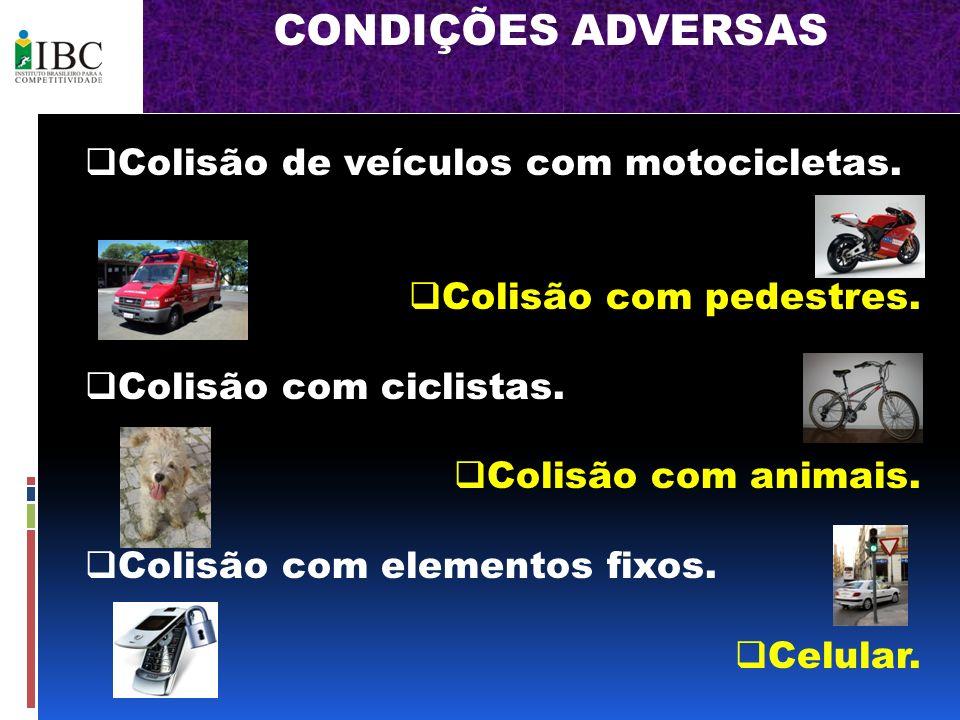 CONDIÇÕES ADVERSAS Colisão de veículos com motocicletas. Colisão com pedestres. Colisão com ciclistas. Colisão com animais. Colisão com elementos fixo