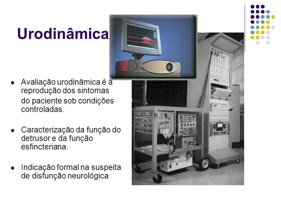 Urodinâmica. Avaliação urodinâmica é a reprodução dos sintomas do paciente sob condições controladas. Caracterização da função do detrusor e da função