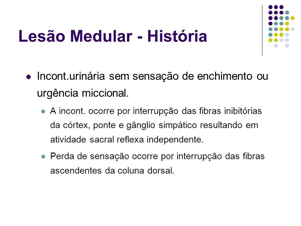 Lesão Medular - História Incont.urinária sem sensação de enchimento ou urgência miccional. A incont. ocorre por interrupção das fibras inibitórias da