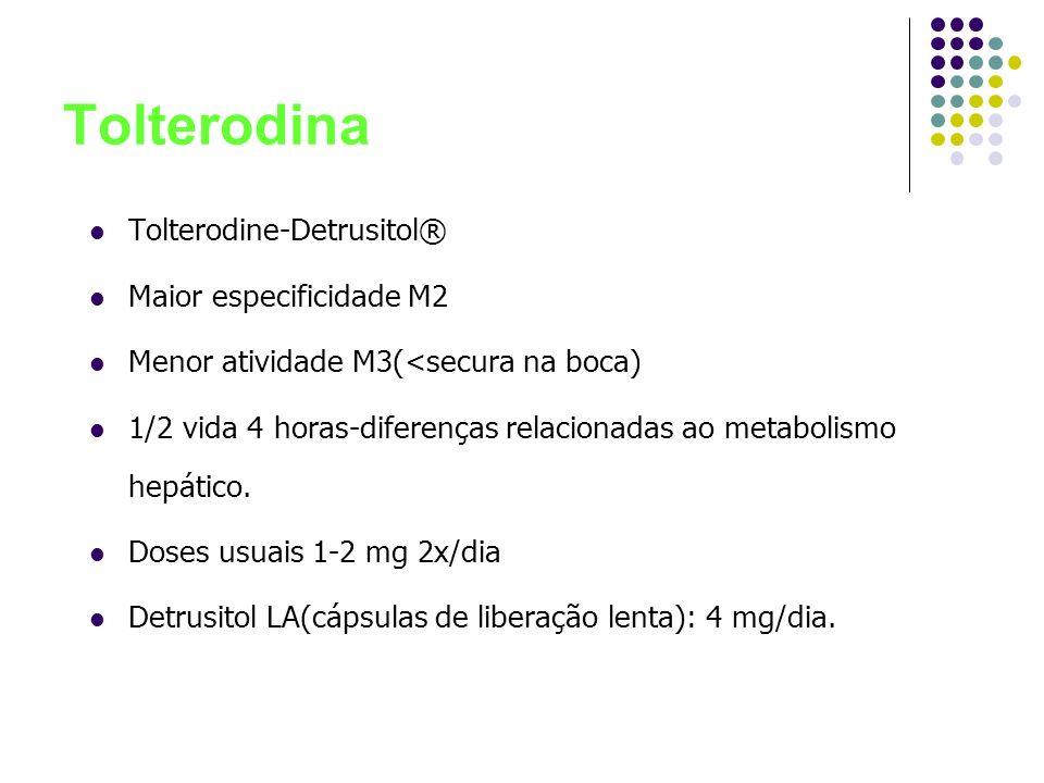 Tolterodina Tolterodine-Detrusitol® Maior especificidade M2 Menor atividade M3(<secura na boca) 1/2 vida 4 horas-diferenças relacionadas ao metabolism